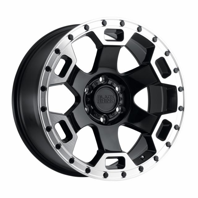 BLACK RHINO GAUNTLET 20X9.0 5/127 ET-18 CB71.6 GLOSS BLACK W/MIRROR MACHINED LIP EDGE