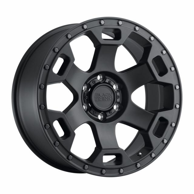 BLACK RHINO GAUNTLET 18X9.0 6/139.7 ET-18 CB112.1 SEMI GLOSS BLACK W/GUNMETAL BOLT