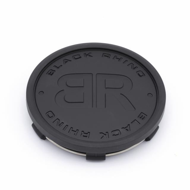 "CENTER CAP BLACK RHINO ""BR"" SOLID MATTE BLACK W/BLACK LETTERS (C-368-2)"