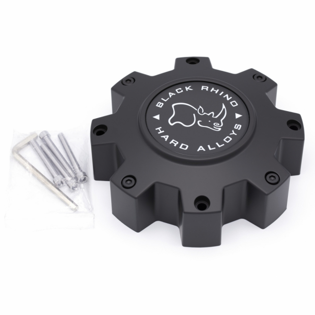 CENTER CAP BLACK RHINO 8/165/170/180 MATTE BLACK (M916) (PSC0288165)