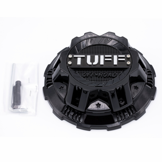 CENTER CAP TUFF T17/T22 - 10H 5 LUG COVER LUG CAP GLOSS BLACK (C110301)
