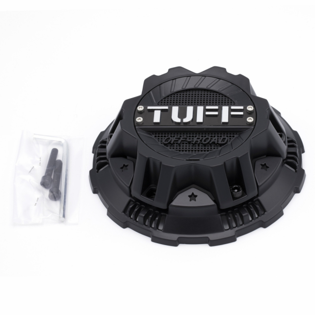 CENTER CAP TUFF T17/T22 - 10H 5 LUG COVER LUG CAP SATIN BLACK (C110301)