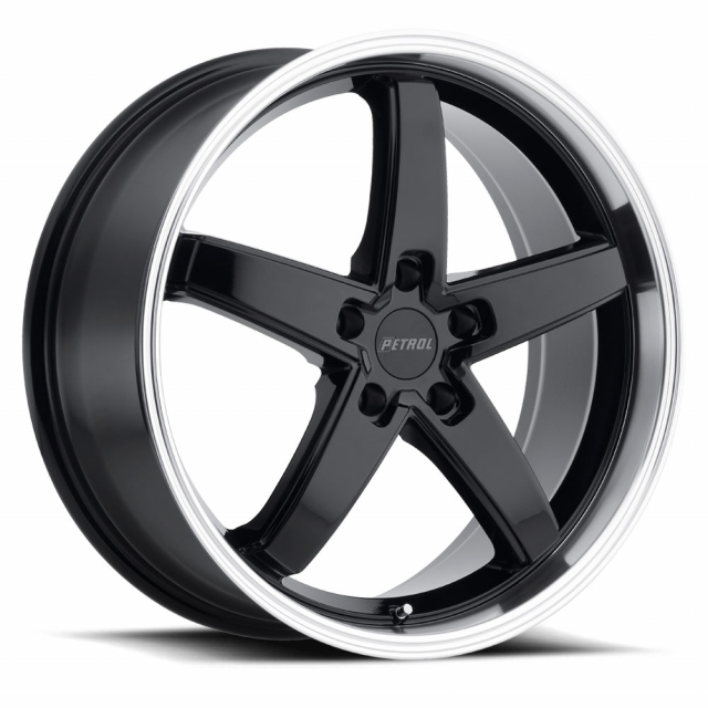 PETROL P1B 20x8.5 5/120 ET35 CB76.1 GLOSS BLACK W/MACHINE CUT LIP