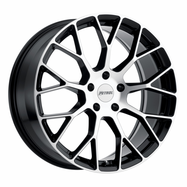 PETROL P2B 19x8.0 5/112 ET32 CB72.1 GLOSS BLACK W/MACHINE FACE
