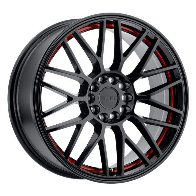 RUFF OVERDRIVE 18x8.0 5/108/114.3 ET38 CB72.1 GLOSS BLACK W/RED INNER LIP