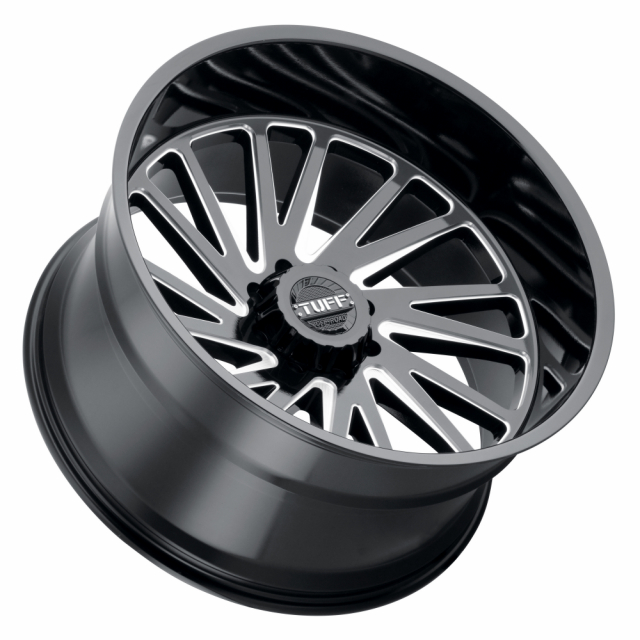 TUFF T2A 22x12 6/135 ET-45 CB87.1 GLOSS BLACK W/MILLED SPOKE LEFT