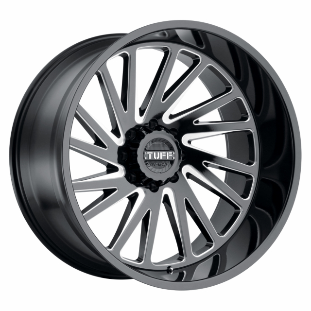 TUFF T2A 22x12 8/165 ET-45 CB122.1 GLOSS BLACK W/MILLED SPOKE LEFT