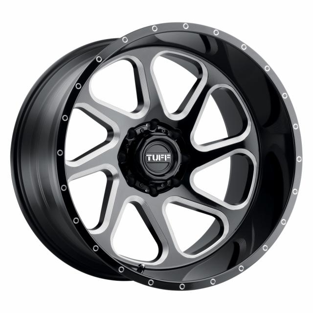 TUFF T2B 22x12 8/165 ET-45 CB125.1 GLOSS BLACK W/MILLED SPOKE LEFT